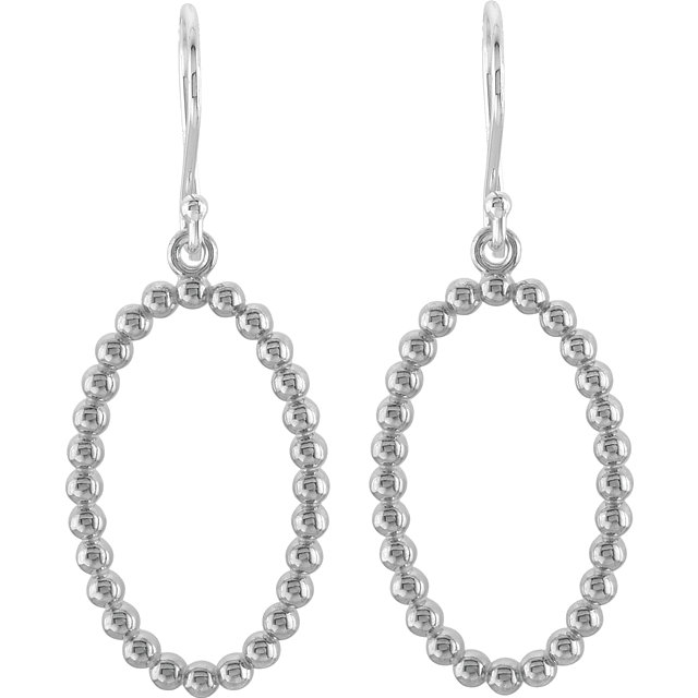 Sterling Silver Oval Beaded Design Earrings