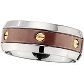 Titanium Band with Chocolate Immerse Plate and 14kt Yellow Screws