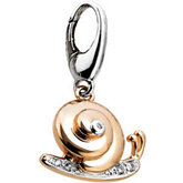 .025 ct tw Diamond Snail Charm