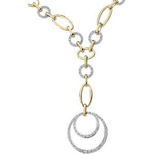 Two-Tone Diamond Circle Necklace