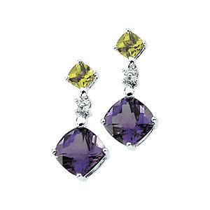 Multicolor Gemstone & Diamond Earrings