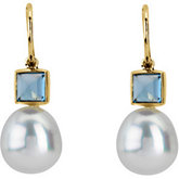 Paspaley Cultured Pearl & Genuine London Blue Topaz Earrings