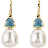 South Sea Cultured Circlé Pearl & Genuine London Blue Topaz Earrings