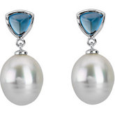 Paspaley Cultured Circlé Pearl & Genuine London Blue Topaz Earrings