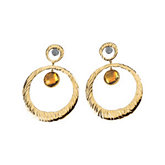 Genuine Citrine Circle Earrings