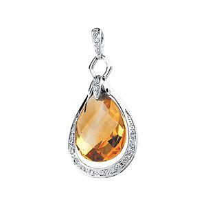 Genuine Citrine Briolette & Diamond Pendant