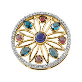 Multicolor Gemstone & Diamond Medallion-Style Pendant