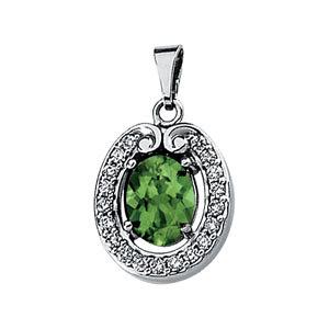 Genuine Green Tourmaline & Diamond Pendant