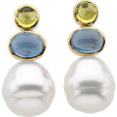 South Sea Cultured Circlé Pearl, Genuine Peridot & Genuine London Blue Topaz Earrings