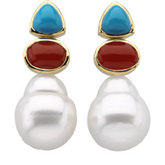 South Sea Cultured Circlé Pearl, Genuine Turquoise & Genuine Red Coral Earrings