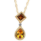 Genuine Multicolor Gemstone & Diamond Pendant