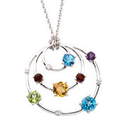Genuine Multicolor Gemstones & Diamond Necklace