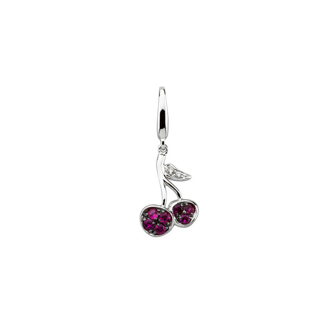 White Gold Cherry Charm With Pink Sapphires and Diamonds