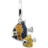 Genuine Multicolor Gemstone & Diamond Double Fish Charm