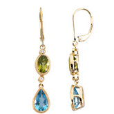 Genuine Multicolor Gemstone & Diamond Lever Back Earrings