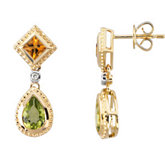 Genuine Citrine, Peridot & Diamond Earrings