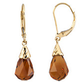 Genuine Checkerboard Madeira Citrine Briolette Earrings