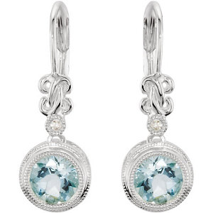 Sterling Silver Aquamarine & .02 CTW Diamond Earrings