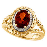 Genuine Madeira Citrine & Diamond Ring