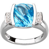 Genuine Carved Swiss Blue Topaz & Diamond Ring