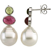 South Sea Cultured Circlé Pearl & Multicolor Gemstone Earrings