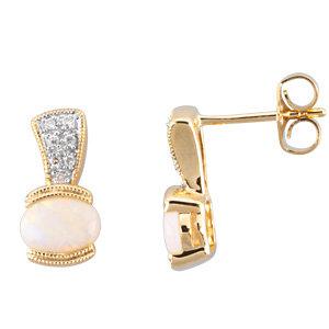 14kt Yellow Opal & . 7<br> ATW Diamond Earrings