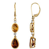 Genuine Citrine, Madeira Citrine & Diamond Earrings