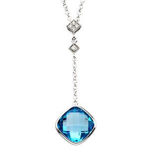 Checkerboard Swiss Blue Topaz & Diamond Necklace