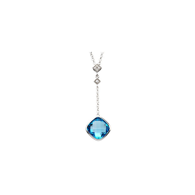 Checkerboard Swiss Blue Topaz and Diamond Necklace