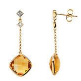 Genuine Checkerboard Citrine & Diamond Earrings