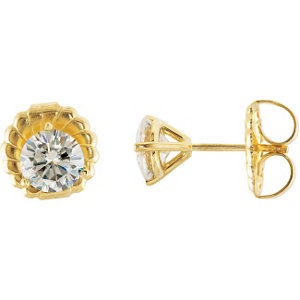 Created Moissanite 3-Prong Stud Earrings