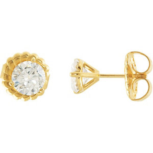 Created Moissanite 3-Prong Stud Earrings