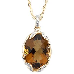 Cinnamon Quartz & Diamond Pendant