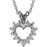 1/5 ct tw Platinum Diamond Heart Pendant