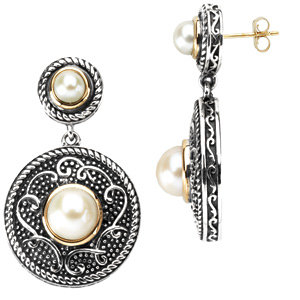 Sterling Silver & 14kt<br> Yellow Freshwater<br> Aultured Pearl Earrings