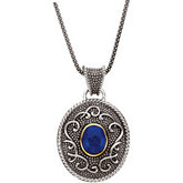 Genuine Cabochon Lapis Necklace