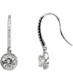 Created Moissanite and Diamond Earrings