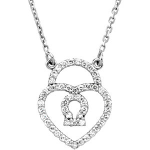 Diamond Heart Padlock Necklace