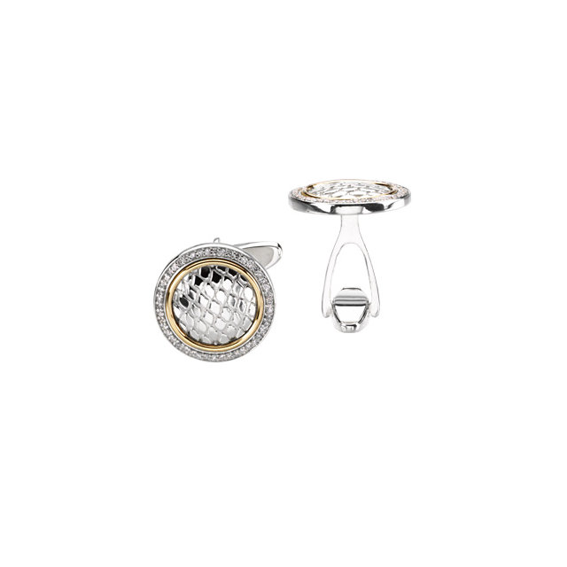 Sterling Silver & 14K Yellow 1/2 CTW Diamond Cuff Links