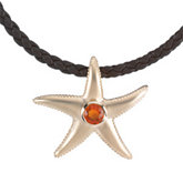 Genuine Mexican Fire Opal Starfish Pendant
