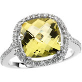 Genuine Lemon Quartz & Diamond Ring