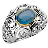 Genuine Cabochon London Blue Topaz Ring