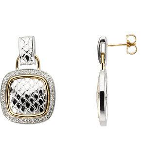 Sterling Silver & 14kt<br> Yellow 1/  ATW Diamond<br> Earrings