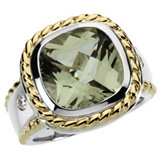 Genuine Checkerboard Green Quartz & Diamond Ring