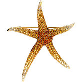 Multicolor Gemstone & Diamond Starfish Brooch / Pendant