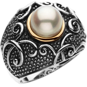 Sterling Silver & 14kt<br> Yellow Freshwater<br> Aultured Pearl Ring Size<br> 7