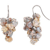 Freshwater Keshi Multicolor Cultured Pearl Earrings