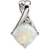Genuine Opal & Diamond Pendant