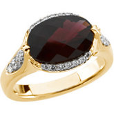 Genuine Checkerboard Brazilian Garnet & Diamond Ring