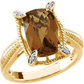 Genuine Checkerboard Honey Quartz & Diamond Ring